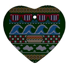 Ugly Summer Ugly Holiday Christmas Green Background Heart Ornament (2 Sides)