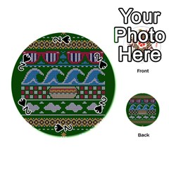 Ugly Summer Ugly Holiday Christmas Green Background Playing Cards 54 (round)