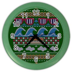 Ugly Summer Ugly Holiday Christmas Green Background Color Wall Clocks