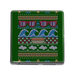 Ugly Summer Ugly Holiday Christmas Green Background Memory Card Reader (square)