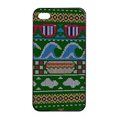 Ugly Summer Ugly Holiday Christmas Green Background Apple Iphone 4/4s Seamless Case (black)