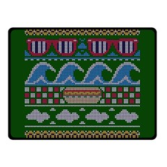 Ugly Summer Ugly Holiday Christmas Green Background Double Sided Fleece Blanket (small)
