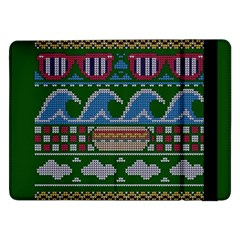 Ugly Summer Ugly Holiday Christmas Green Background Samsung Galaxy Tab Pro 12 2  Flip Case