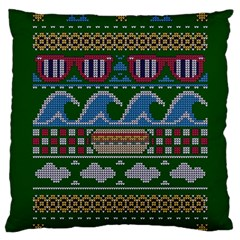 Ugly Summer Ugly Holiday Christmas Green Background Standard Flano Cushion Case (two Sides)