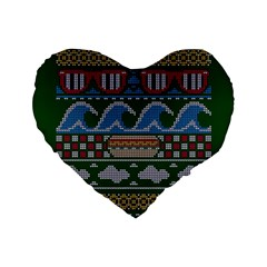 Ugly Summer Ugly Holiday Christmas Green Background Standard 16  Premium Flano Heart Shape Cushions