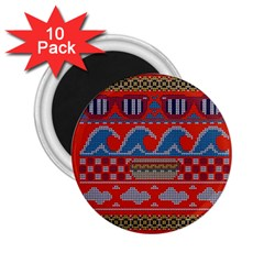 Ugly Summer Ugly Holiday Christmas Red Background 2 25  Magnets (10 Pack)