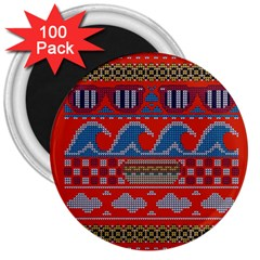 Ugly Summer Ugly Holiday Christmas Red Background 3  Magnets (100 Pack)