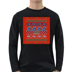 Ugly Summer Ugly Holiday Christmas Red Background Long Sleeve Dark T Shirts