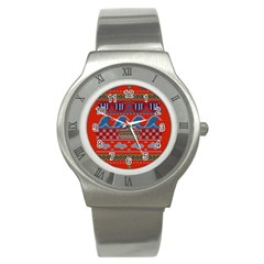 Ugly Summer Ugly Holiday Christmas Red Background Stainless Steel Watch