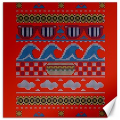 Ugly Summer Ugly Holiday Christmas Red Background Canvas 16  X 16