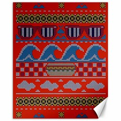 Ugly Summer Ugly Holiday Christmas Red Background Canvas 16  X 20