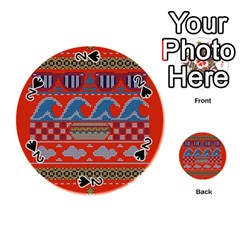 Ugly Summer Ugly Holiday Christmas Red Background Playing Cards 54 (round)