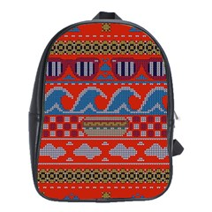 Ugly Summer Ugly Holiday Christmas Red Background School Bags(large)