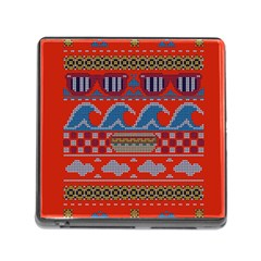 Ugly Summer Ugly Holiday Christmas Red Background Memory Card Reader (square)