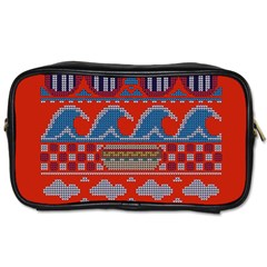 Ugly Summer Ugly Holiday Christmas Red Background Toiletries Bags