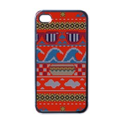Ugly Summer Ugly Holiday Christmas Red Background Apple Iphone 4 Case (black)