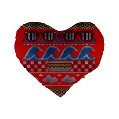 Ugly Summer Ugly Holiday Christmas Red Background Standard 16  Premium Heart Shape Cushions