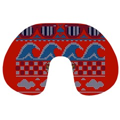 Ugly Summer Ugly Holiday Christmas Red Background Travel Neck Pillows
