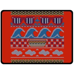 Ugly Summer Ugly Holiday Christmas Red Background Double Sided Fleece Blanket (large)
