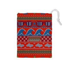 Ugly Summer Ugly Holiday Christmas Red Background Drawstring Pouches (medium)