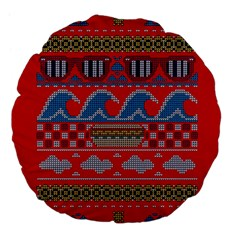 Ugly Summer Ugly Holiday Christmas Red Background Large 18  Premium Flano Round Cushions