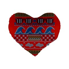 Ugly Summer Ugly Holiday Christmas Red Background Standard 16  Premium Flano Heart Shape Cushions