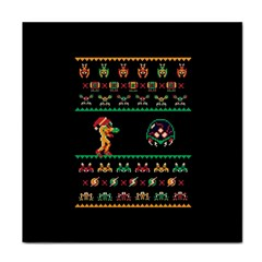 We Wish You A Metroid Christmas Ugly Holiday Christmas Black Background Tile Coasters