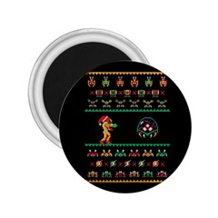 We Wish You A Metroid Christmas Ugly Holiday Christmas Black Background 2 25  Magnets