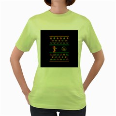 We Wish You A Metroid Christmas Ugly Holiday Christmas Black Background Women s Green T-Shirt