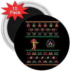 We Wish You A Metroid Christmas Ugly Holiday Christmas Black Background 3  Magnets (10 pack)