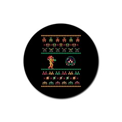 We Wish You A Metroid Christmas Ugly Holiday Christmas Black Background Rubber Round Coaster (4 pack)