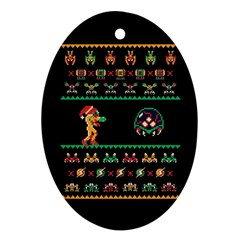 We Wish You A Metroid Christmas Ugly Holiday Christmas Black Background Oval Ornament (two Sides)