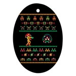 We Wish You A Metroid Christmas Ugly Holiday Christmas Black Background Oval Ornament (Two Sides) Front