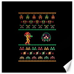 We Wish You A Metroid Christmas Ugly Holiday Christmas Black Background Canvas 12  x 12