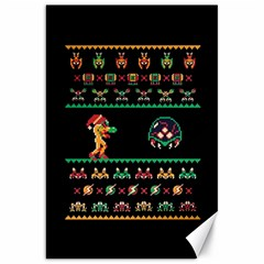 We Wish You A Metroid Christmas Ugly Holiday Christmas Black Background Canvas 20  x 30