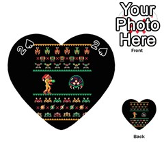 We Wish You A Metroid Christmas Ugly Holiday Christmas Black Background Playing Cards 54 (heart)