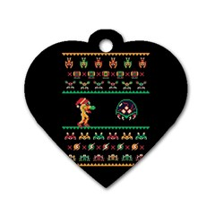 We Wish You A Metroid Christmas Ugly Holiday Christmas Black Background Dog Tag Heart (One Side)