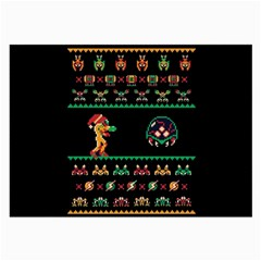 We Wish You A Metroid Christmas Ugly Holiday Christmas Black Background Large Glasses Cloth (2-Side)