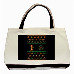 We Wish You A Metroid Christmas Ugly Holiday Christmas Black Background Basic Tote Bag (two Sides)