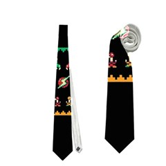 We Wish You A Metroid Christmas Ugly Holiday Christmas Black Background Neckties (one Side)