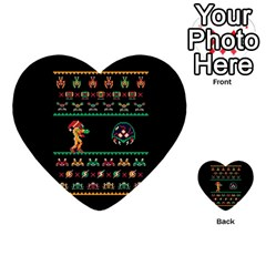 We Wish You A Metroid Christmas Ugly Holiday Christmas Black Background Multi Purpose Cards (heart)