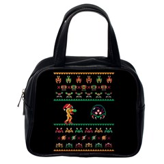 We Wish You A Metroid Christmas Ugly Holiday Christmas Black Background Classic Handbags (one Side)