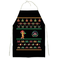 We Wish You A Metroid Christmas Ugly Holiday Christmas Black Background Full Print Aprons