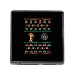 We Wish You A Metroid Christmas Ugly Holiday Christmas Black Background Memory Card Reader (square)