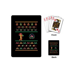We Wish You A Metroid Christmas Ugly Holiday Christmas Black Background Playing Cards (mini)