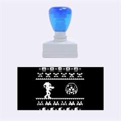 We Wish You A Metroid Christmas Ugly Holiday Christmas Black Background Rubber Stamps (medium)