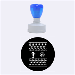 We Wish You A Metroid Christmas Ugly Holiday Christmas Black Background Rubber Round Stamps (medium)