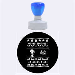 We Wish You A Metroid Christmas Ugly Holiday Christmas Black Background Rubber Round Stamps (large)