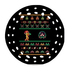We Wish You A Metroid Christmas Ugly Holiday Christmas Black Background Ornament (round Filigree)
