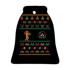 We Wish You A Metroid Christmas Ugly Holiday Christmas Black Background Bell Ornament (2 Sides)